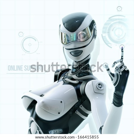 Modern designed robotic space. Futuristic female android configuring virtual digital interface