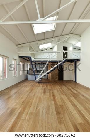 modern designer, apartment with mezzanine - stock photo