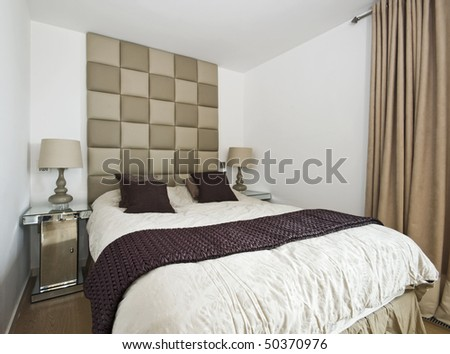 modern designer bedroom with luxury furniture and accessory - stock photo