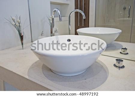 Designer Sink detail rectangular designer kitchen sink chrome stock photo