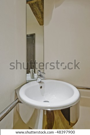 Modern Designer Hand Wash Basin Mirror Stock Photo 48397900 ...