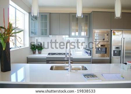modern designer kitchen - stock photo