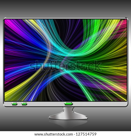 Modern desktop computer monitor or TV with bright color on the screen - stock photo