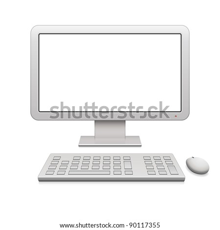 Modern desktop computer with a blank widescreen monitor, wireless keyboard and mouse - stock photo