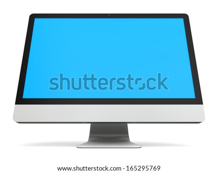 Modern desktop computer with blue screen isolated on white background