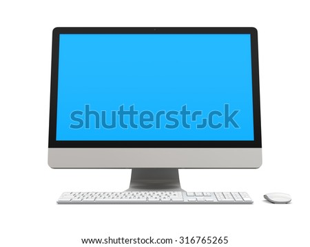 Modern desktop computer with blue screen isolated on white background - stock photo