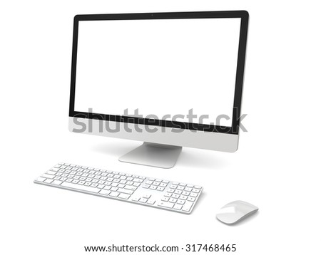 Modern desktop computer with white blank screen isolated on white background - stock photo