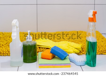modern detergents for cleaning house - stock photo