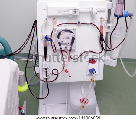 modern device of artificial kidney. The process of dialysis. - stock photo