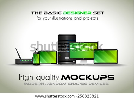 Modern devices mockups for your business projects. Set of laptop, desktop computer, server, modem router, tablet and smartphone with generic look. - stock photo