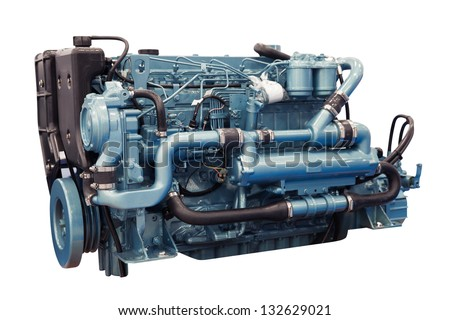 Modern diesel engine used on marine industry - stock photo