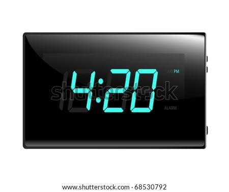 Modern digital alarm clock illustration raster. Isolated on white.  Display reads four twenty. - stock photo
