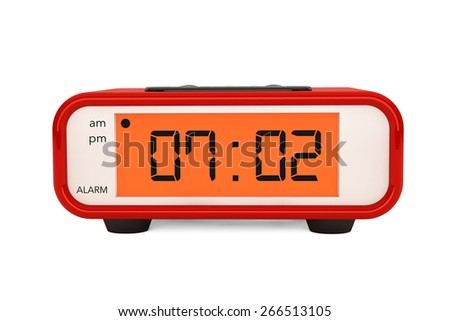 Modern Digital Alarm Clock on a white background - stock photo