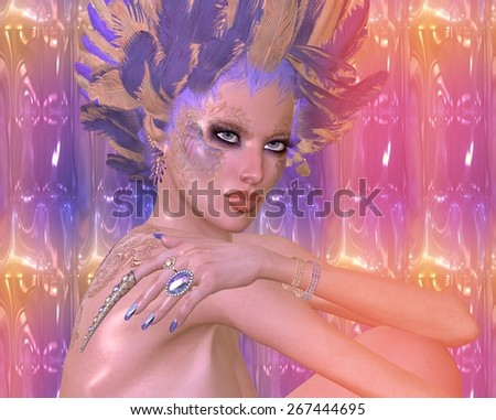 Modern digital art beauty and fashion fantasy scene with purple and gold feathers, butterfly make up and a unique abstract background. Original cosmetics decorate this beautiful face and glowing skin. - stock photo