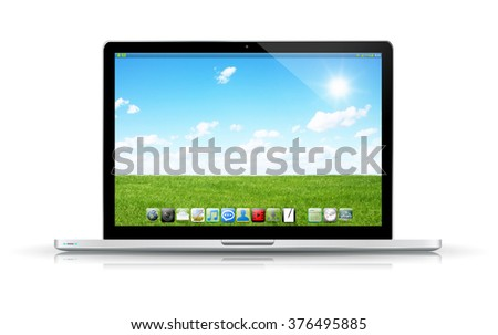 Modern digital black and silver laptop on white background