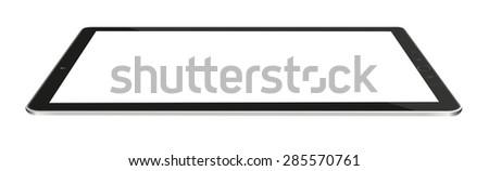 Modern digital black tablet on white background - stock photo