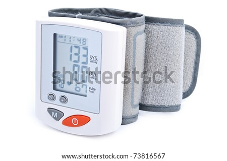 Modern digital blood pressure measurement equipment isolated on a white background - stock photo