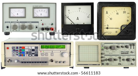 Modern digital electronic and retro measuring equipment set . Isolated on white. Mass production. - stock photo