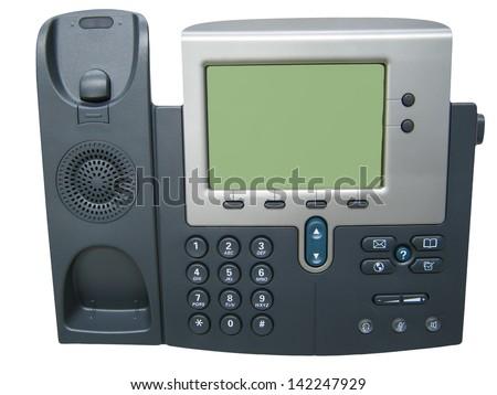 Modern Digital IP Phone Isolated on white background - stock photo