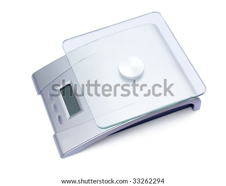 Modern digital kitchen scale isolated on white - stock photo