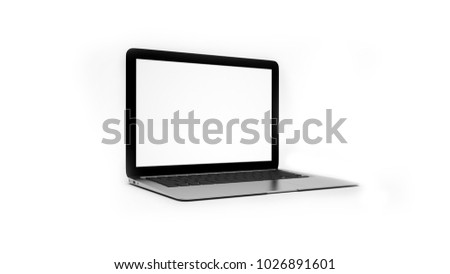 Modern digital metallic silver and black laptop with blank screen 3D rendering