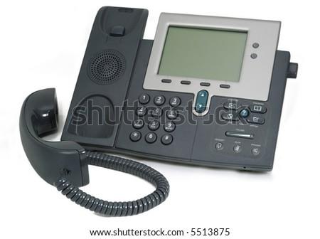 Modern Digital Phone. Isolated on white. - stock photo