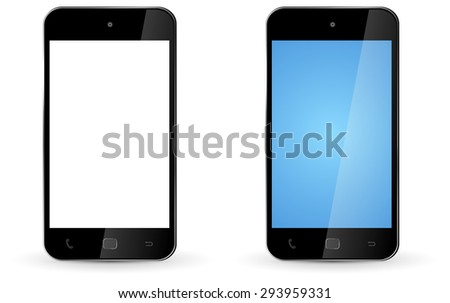 Modern digital smart phone on white background - stock photo