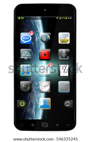 Modern digital smart phone on white background 3D rendering