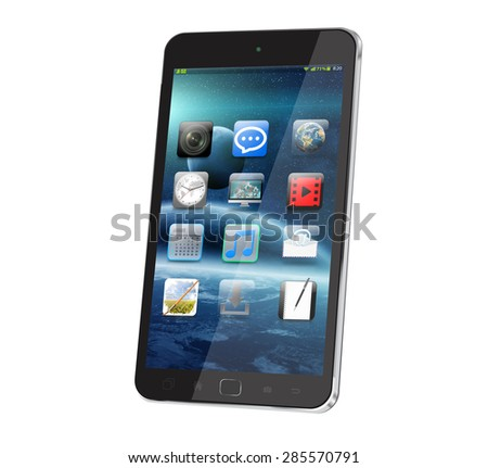 Modern digital smart phone on white background 'elements of this image furnished by NASA'