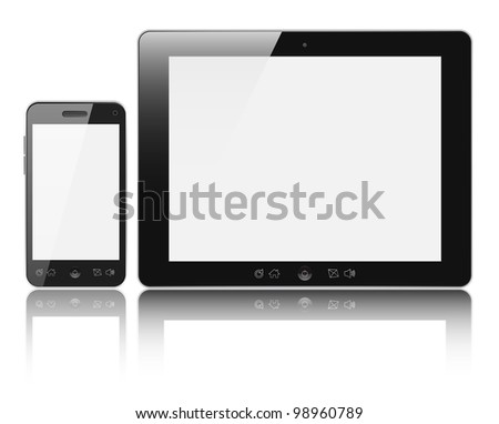 Modern digital tablet PC with mobile smartphone isolated on white background. Clipping path included. - stock photo