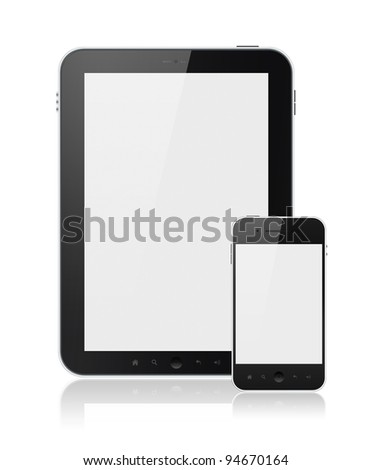 Modern digital tablet PC with mobile smartphone isolated on white. Include clipping path for tablet and phone. - stock photo
