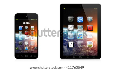 Modern digital tactile phone and tablet on white background '3D rendering'