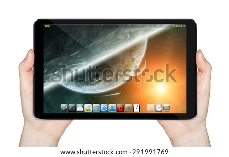 Modern digital tactile tablet on white background 'elements of this image furnished by NASA' - stock photo
