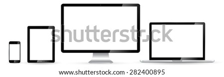 Modern digital tech device on white background - stock photo