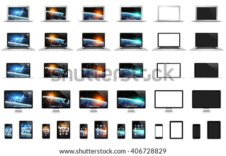 Modern digital tech devices on white background '3D rendering'