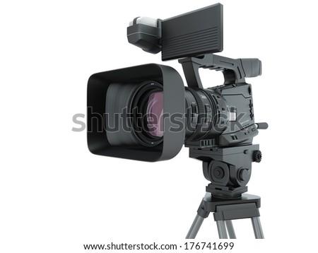 Modern Digital Video Camera on white background. - stock photo