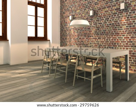 Modern dining corner with rough brick wall, table and chairs (3D render) - stock photo
