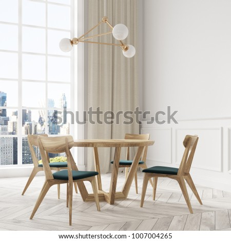 Modern dining room corner with white walls, a wooden floor and a wooden table with green and wooden chairs. A window. 3d rendering mock up