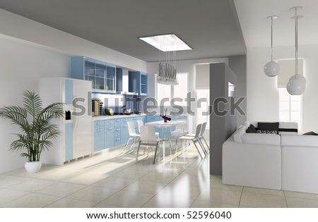 modern dining room.3d render