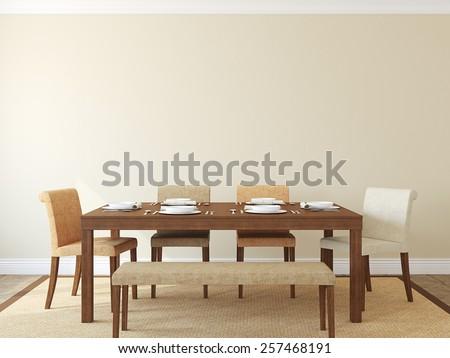 Modern dining-room interior.3d render. - stock photo