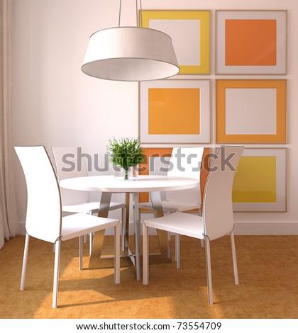 Modern dining-room interior. 3d render. - stock photo