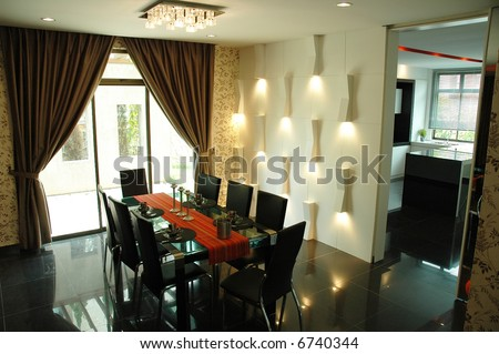 Modern dining room . interior design with black color as major color