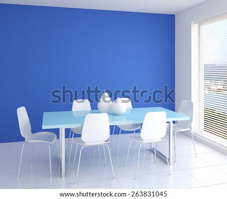 Modern dining-room interior with table and six white chairs near empty blue wall. 3d render. - stock photo