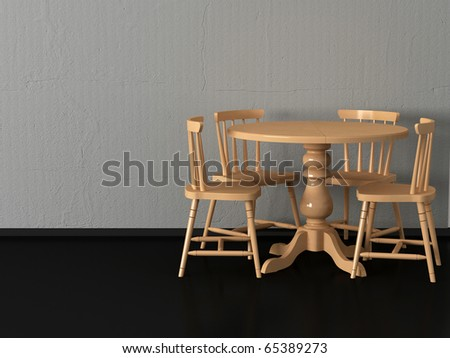 Modern dining room, round wooden table witn four chairs