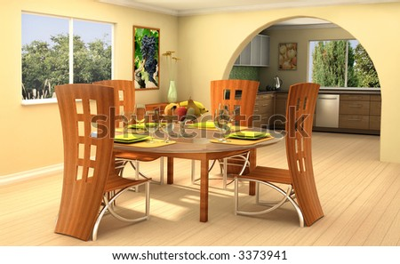 Modern dining room with a kitchen on background This is 3d rendering, so if you want some modifications to the scene, change color scheme or have lave large file, just ask. - stock photo