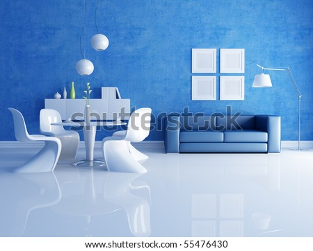 modern  dining room  with blue sofa - rendering - stock photo