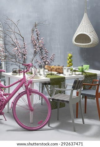 modern dining table - stock photo