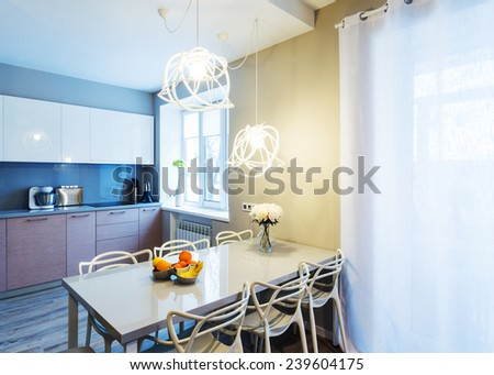Modern dinning room interior - stock photo