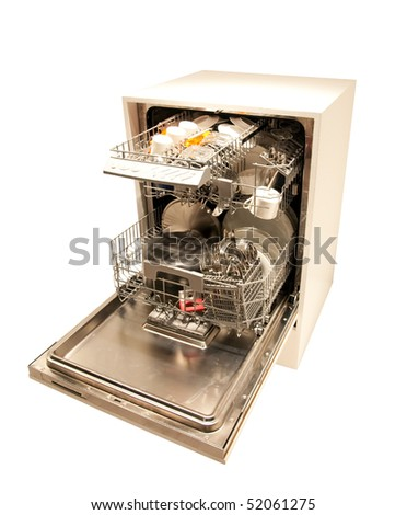 Modern dishwasher open - stock photo