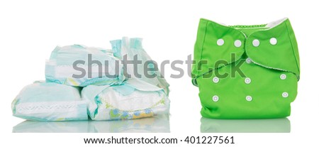 Modern disposable diapers and clean diaper isolated on white background. - stock photo